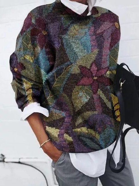 Floral Knitted Shirts & Tops
