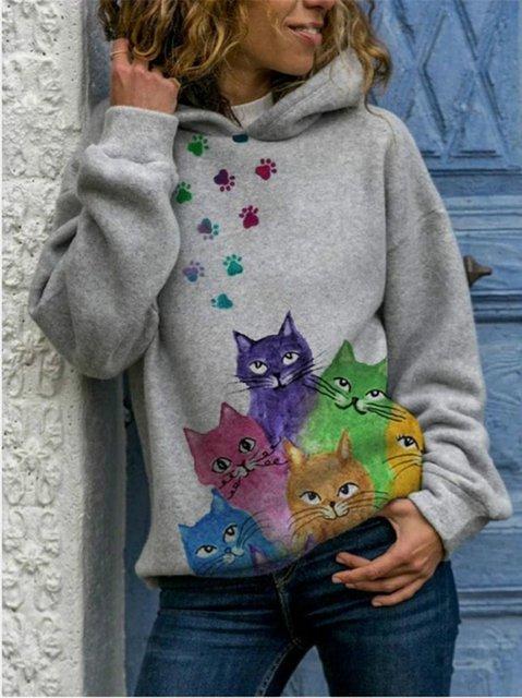 Cotton-Blend Long Sleeve Sweatshirt