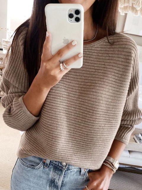 Coffee Round Neck Simple Sweater