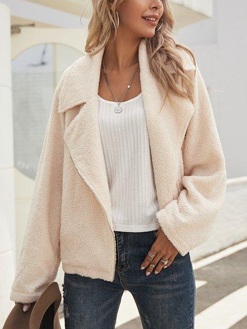 White Shawl Collar Plain Long Sleeve Cotton-Blend Outerwear