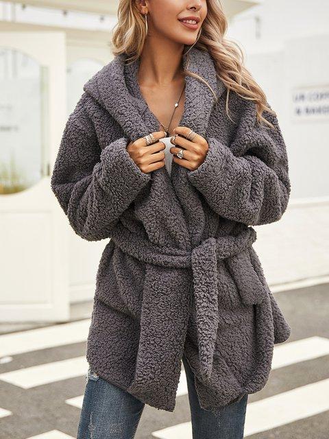 Gray Casual Shawl Collar Paneled Outerwear