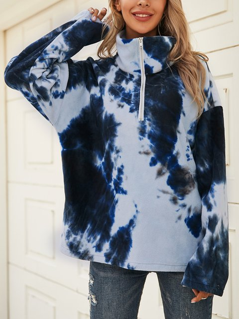 Blue Long Sleeve Paneled Turtleneck Cotton-Blend Shirts & Tops
