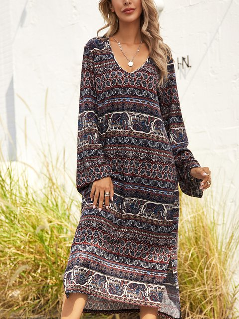 Red Cotton-Blend Printed Long Sleeve Dresses