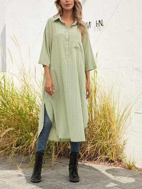 Green Shawl Collar Striped Buttoned Slit Outdoor Midi Dresses