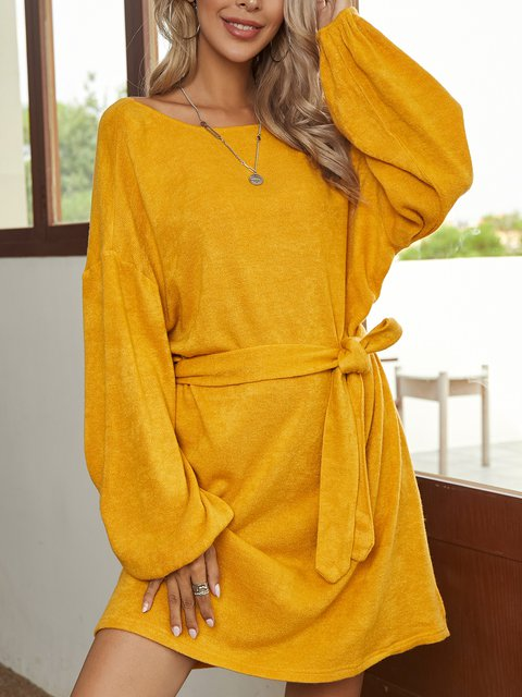 Yellow Holiday Plain A-Line Cotton-Blend Dresses
