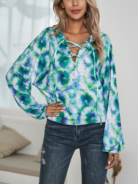 Green Paneled Cotton-Blend V Neck Casual Shirts & Tops