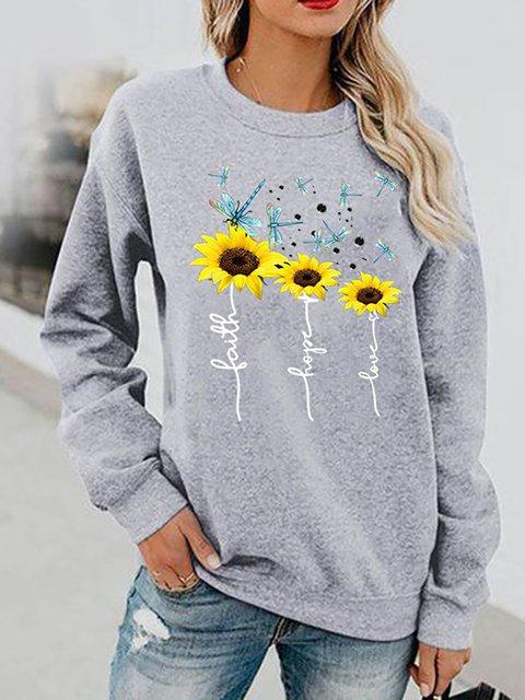 Floral-Print Round Neck Long Sleeve Sweatshirt