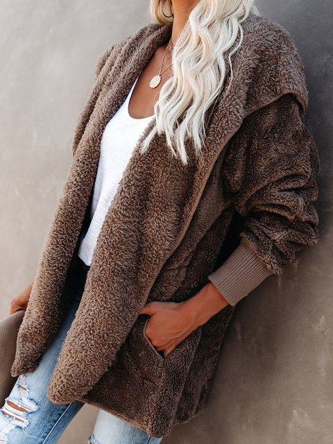Casual Long Sleeve Solid Plush Outerwear