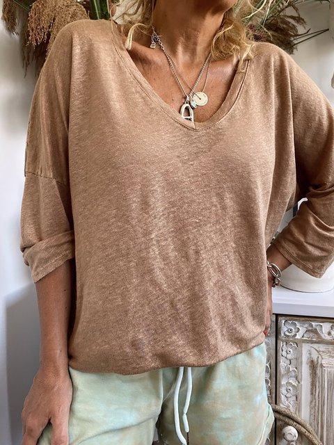 Khaki Solid Casual V-Neck 3/4 Sleeve Shirts & Tops