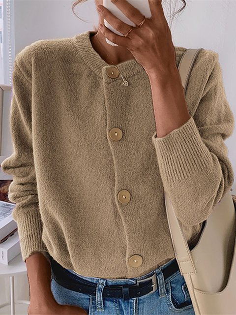 Loose Short Style Solid Sweater Coat