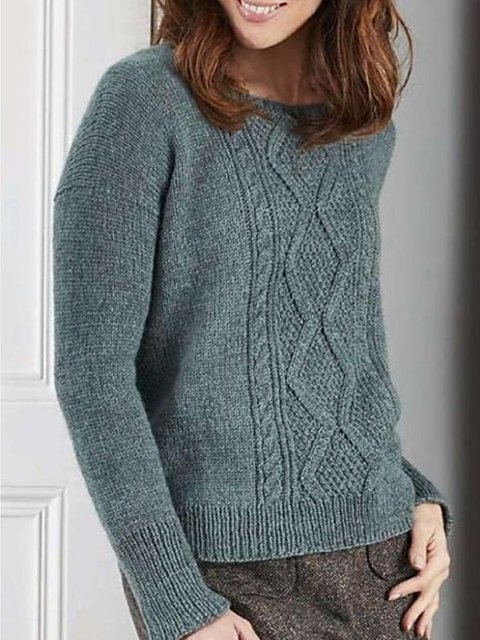 Blue Casual Cotton Sweater