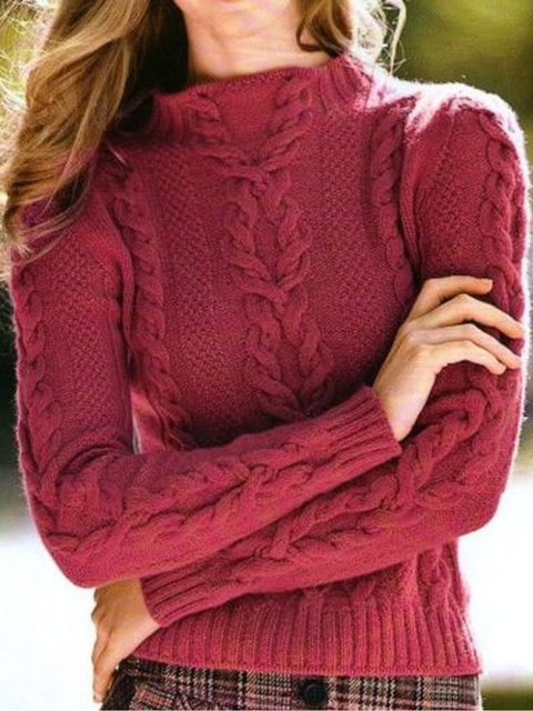 Red Cotton Long Sleeve Sweater