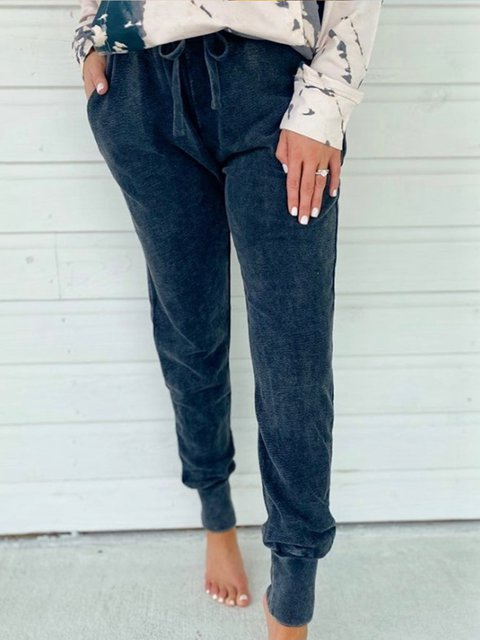 Gray Shift Casual Cotton-Blend Pants