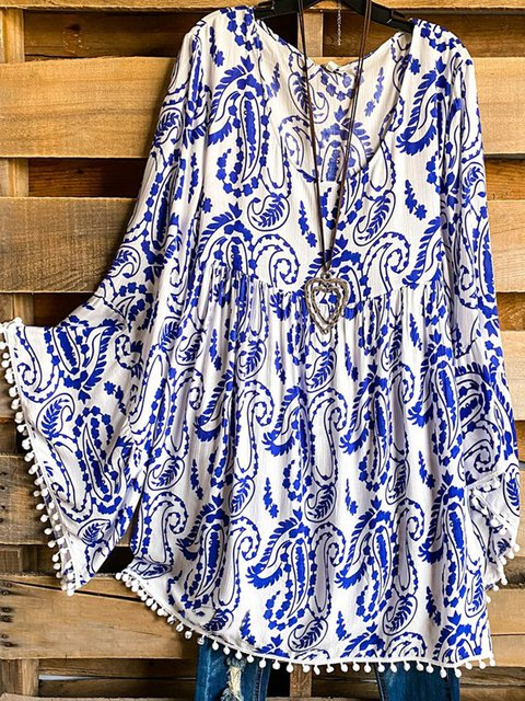 White Frill Sleeve Tribal Cotton-Blend Shirts & Tops