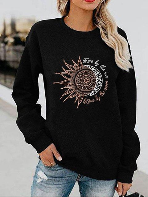 Sun Flower Print Long Sleeve Casual Sweatshirt