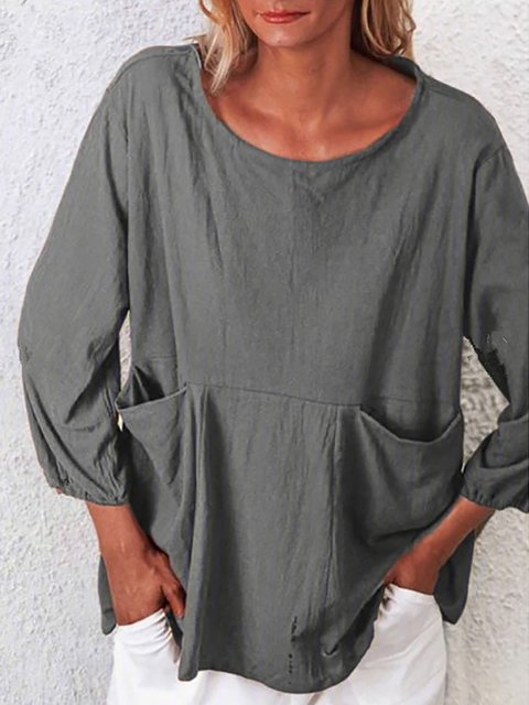 Loose Double Pocket Solid Round Neck Shirts & Tops