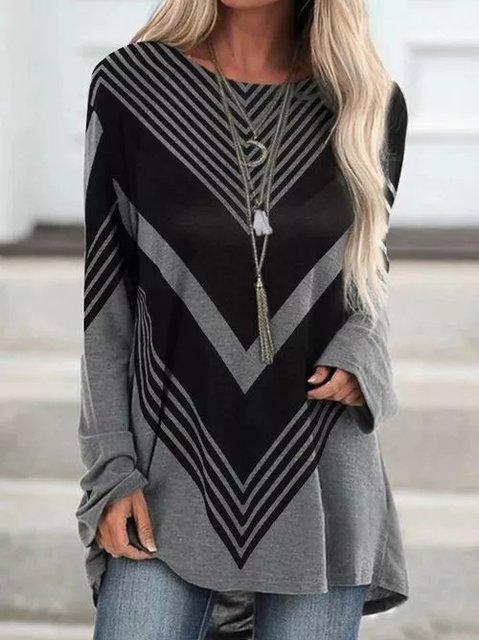 Printed Cotton-Blend Long Sleeve Stripes Shirts & Tops