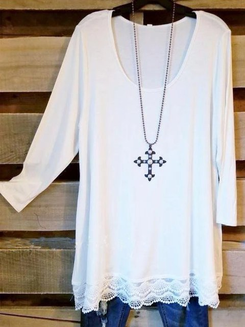 White Scoop Neckline Casual Shirts & Tops