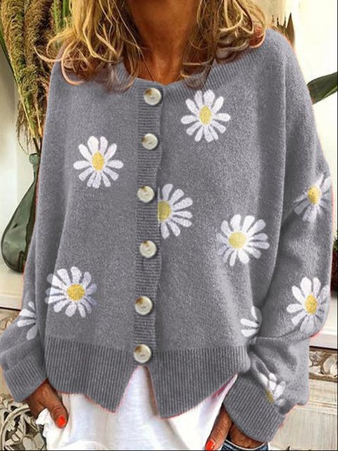 Long Sleeve Cotton-Blend Shift Floral Sweater