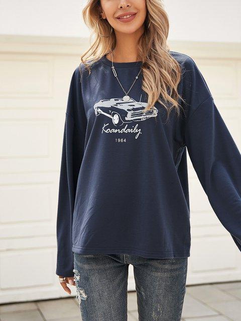 Deep Blue Long Sleeve Casual Paneled V Neck Shirts & Tops