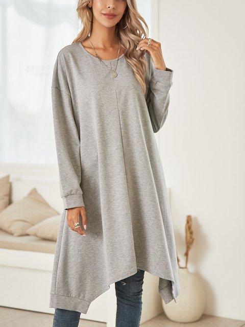 Gray Long Sleeve Swing Paneled Dresses