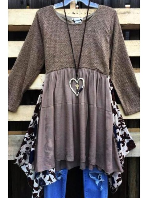 Khaki Crew Neck Floral A-Line Casual Shirts & Tops Tunic