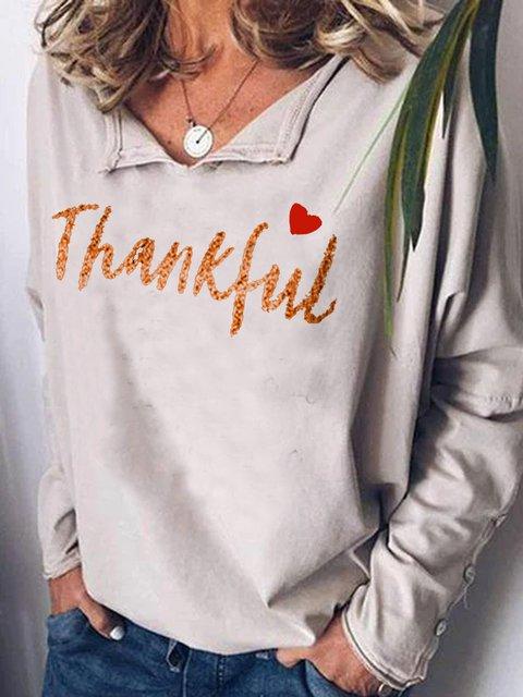 Casual retro Thanksgiving printed top