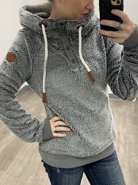 Gray Solid Paneled Long Sleeve Hoodie Sweatshirt
