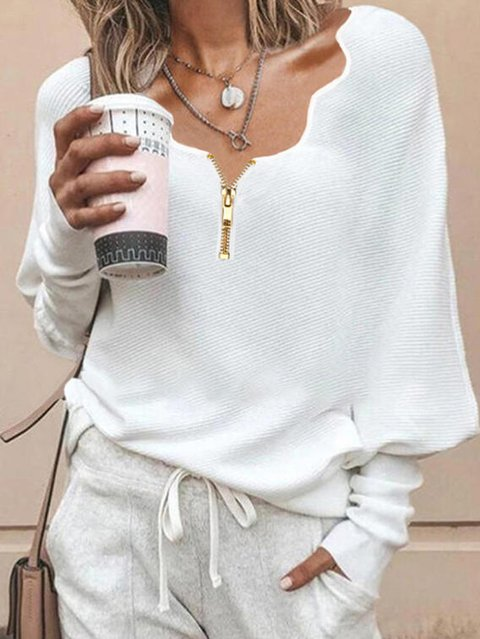 V Neck Long Sleeve Cotton-Blend Sweater