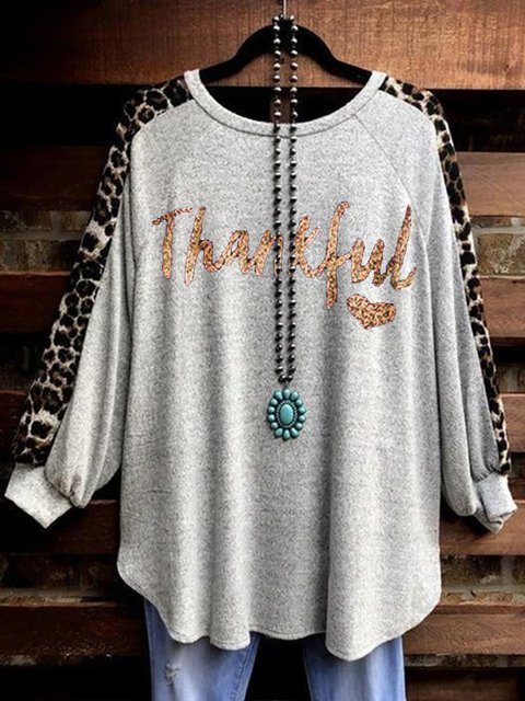 Leopard print print Thanksgiving casual loose top