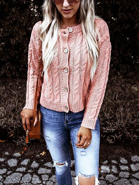 Pink Casual Shift Long Sleeve Sweater