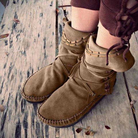 Faux Suede Split Joint Casual Boots