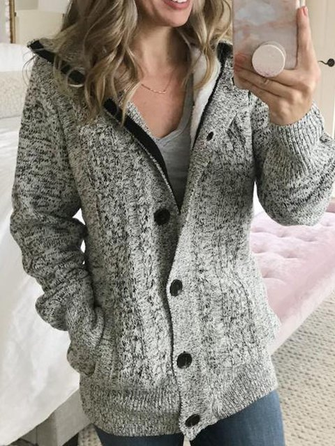 Gray Vintage Hoodie Solid Cotton-Blend Outerwear