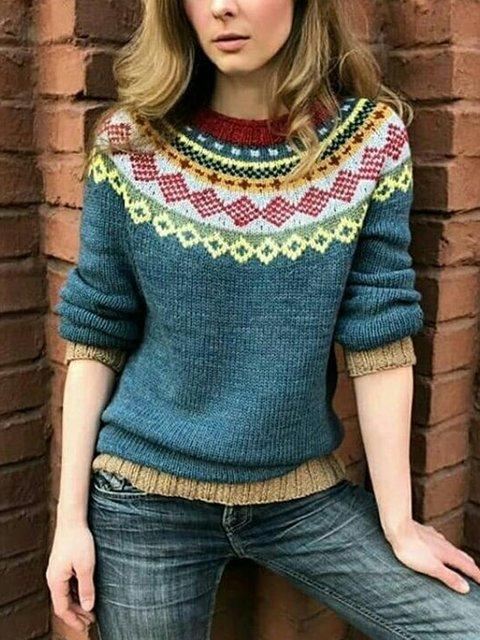 Blue Acrylic Casual Crew Neck Sweater