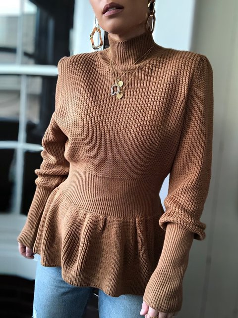 Solid Color Turtleneck Slimming Sweater