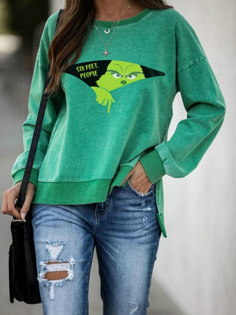 Green Cotton-Blend Long Sleeve Shirts & Tops