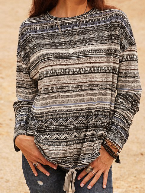 Gray Striped Casual Crew Neck Shirts & Tops