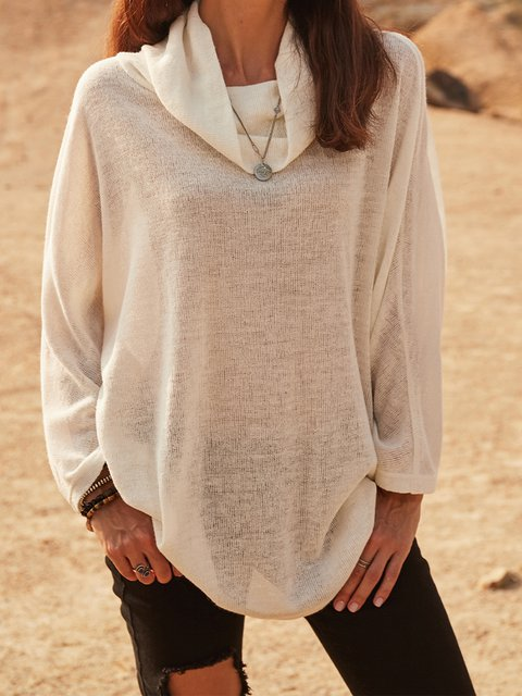 White Cotton-Blend Casual Turtleneck Shirts & Tops