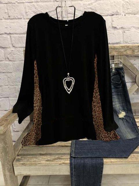 Leopard Long Sleeve Lightweight  Cotton-blend  Crew Neck  Casual  Winter Black Top