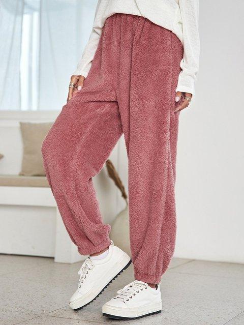 Pink Holiday Cotton-Blend Plain Pants
