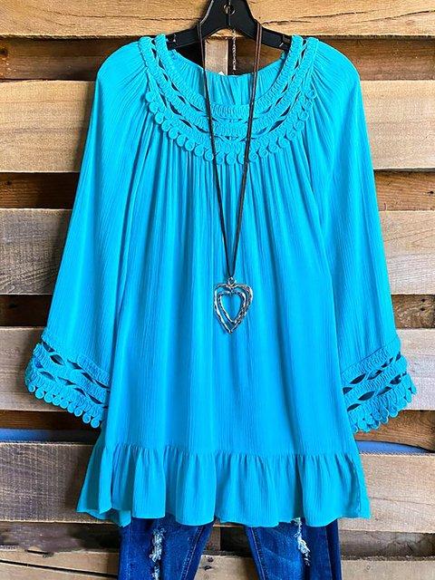 Turquoise Long Sleeve Round Neck Shirts & Tops