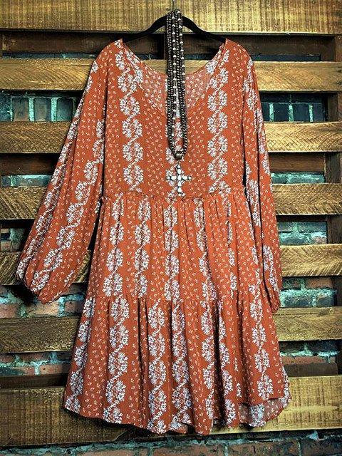 Vintage Print V-neck Long Sleeve Loose Dresses