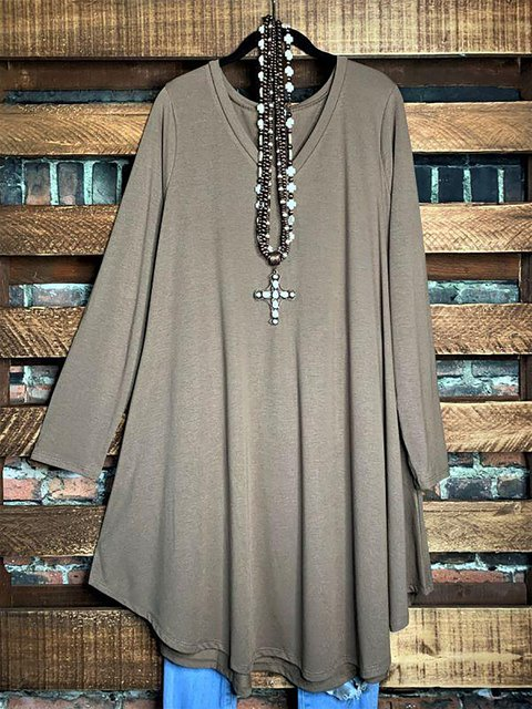 Solid Color Long Sleeve Cotton-Blend Casual Dress Tunic