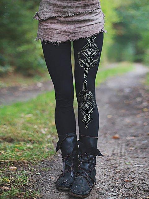 Vintage Cotton-blend Print Stretch Leggings