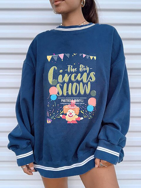 Circus Printed Fun Casual Long-sleeved Sweatshirt