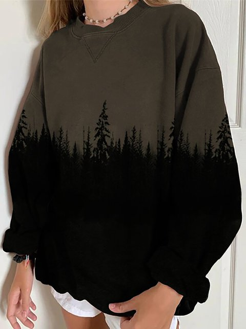 Treetop Silhouette Casual Sweater