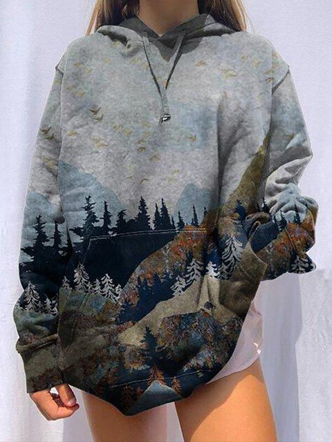 Mountain Treetop Print Hooded Sweatshirt