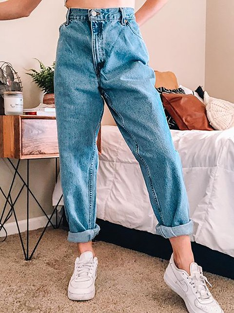 Blue Casual Loose Solid Color Jeans