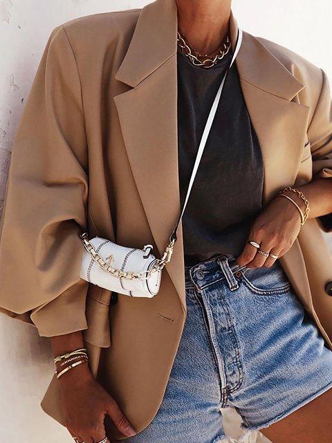 Khaki Fashionable Long Sleeve Lapel Blazer