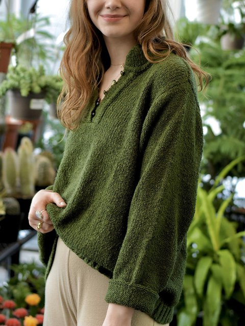 Soft Loose Green Button Up Pullover Sweater